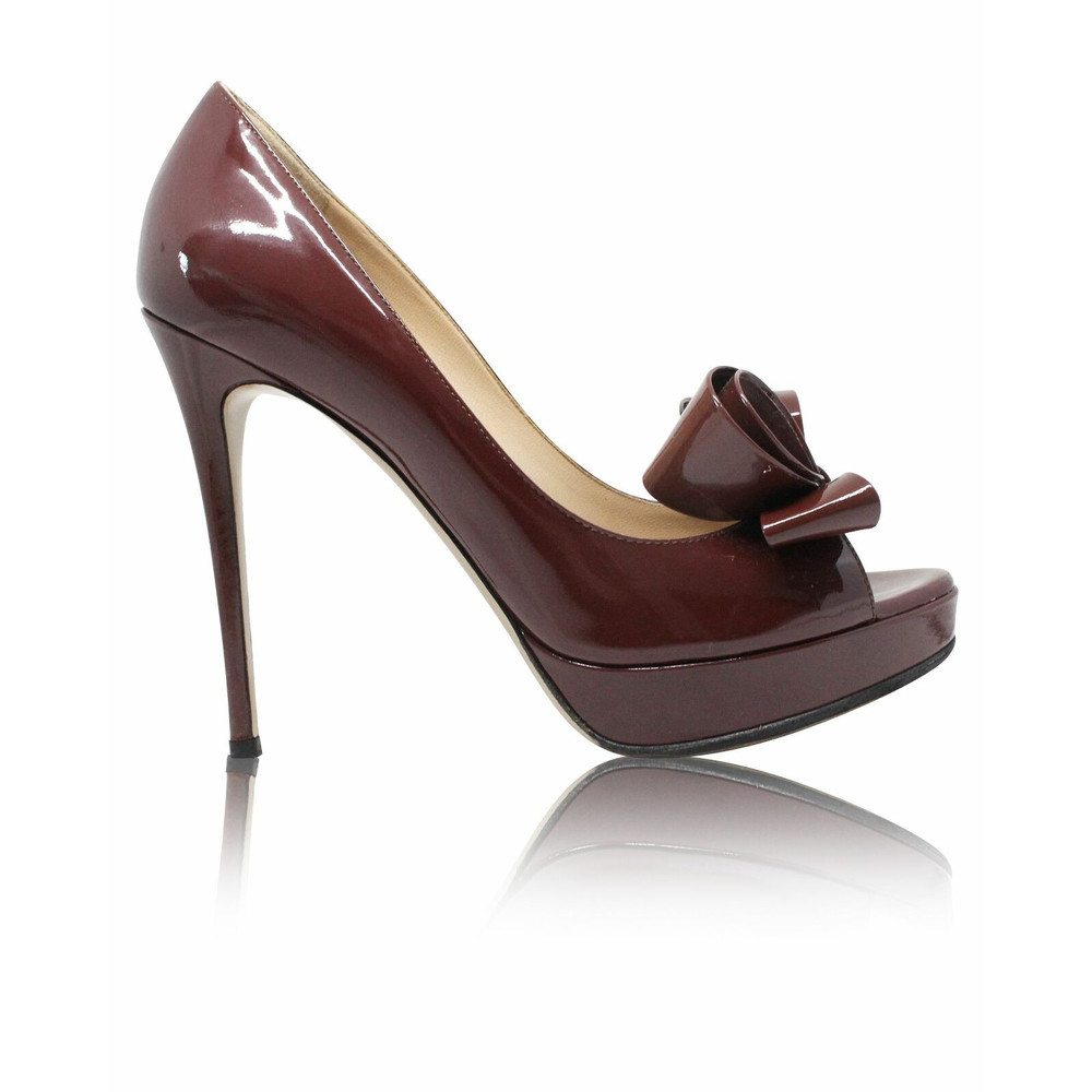 Valentino Sandals Leather With Large Brown Bow