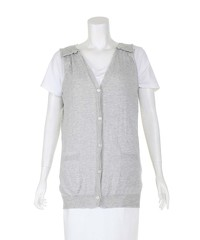 Miu Miu Grey Sleeveless lightweight Cardiga Angle1