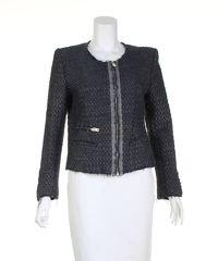 Grey Metallic Textured Jacket of Iro. Angle1