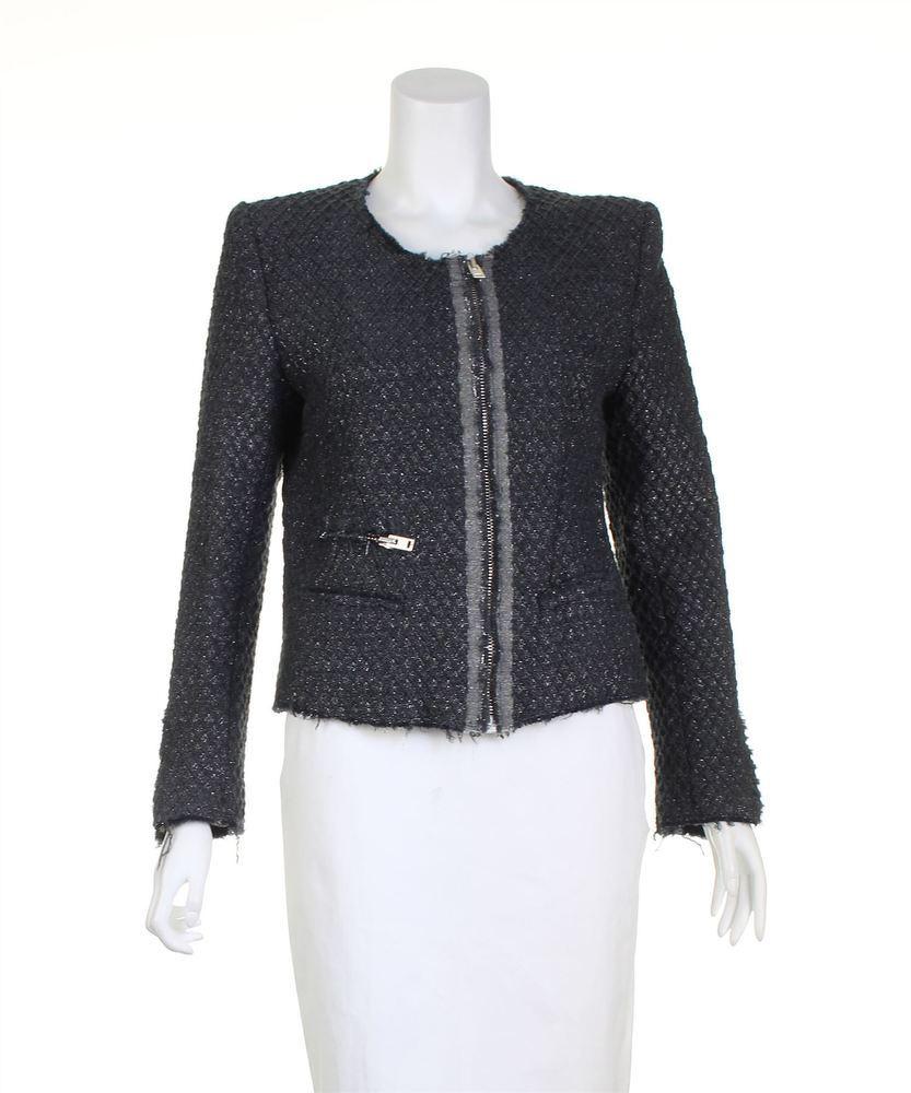 Grey Metallic Textured Jacket of Iro.