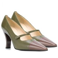 Chanel Pointed Pumps of Khaki and Brown