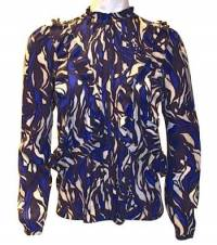 Silk Print Pintuck Blouse
