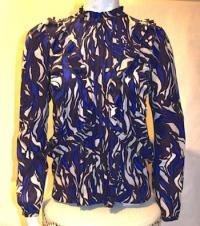 Silk Print Pintuck Blouse