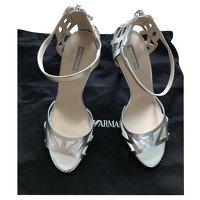 Giorgio Armani, Silver Sandals Angle1