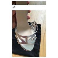 Giorgio Armani, Silver Sandals Angle3