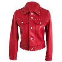 CLAUDIE PIERLOT Red Lambskin Zipped Jacket Angle2