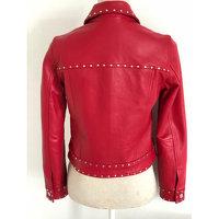 CLAUDIE PIERLOT Red Lambskin Zipped Jacket Angle3