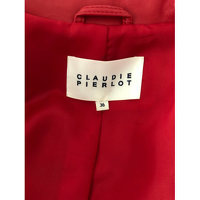 CLAUDIE PIERLOT Red Lambskin Zipped Jacket Angle4