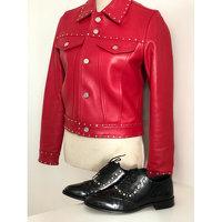CLAUDIE PIERLOT Red Lambskin Zipped Jacket Angle6