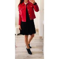 CLAUDIE PIERLOT Red Lambskin Zipped Jacket Angle7