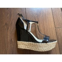 MICHAEL KORS Black Leather Wedge Sandals Angle2