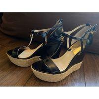 MICHAEL KORS Black Leather Wedge Sandals Angle4