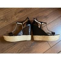 MICHAEL KORS Black Leather Wedge Sandals Angle5