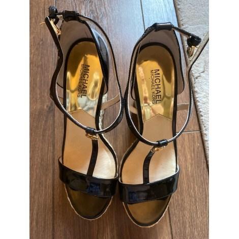MICHAEL KORS Black Leather Wedge Sandals