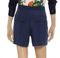 DVF Navy Silk Shorts Angle3