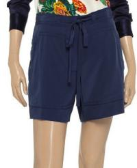 DVF Navy Silk Shorts Angle2