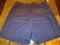 DVF Navy Silk Shorts Angle4