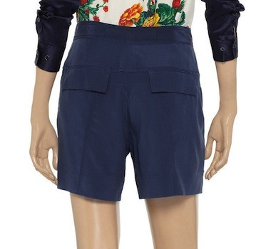 DVF Navy Silk Shorts