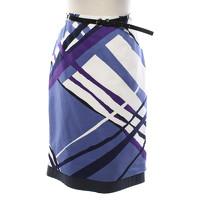 Max Mara Graphic Print Cotton Skirt With Belt