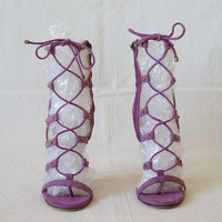 Jimmy Choo Sandals Suede in Violet Angle1