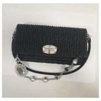 Black leather and crystal bag