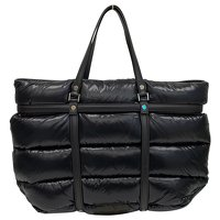 Moncler, Black padded and quilted nylon travel bag Angle2