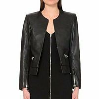 Sandro leather jacket with peplum