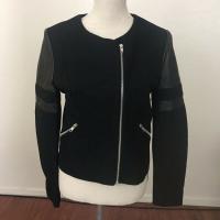 Sandro black leather cotton blend biker jacket