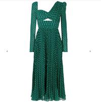 self-portrait Cutout green swing dress