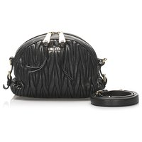 Black Matelasse Leather Crossbody by Miu Miu