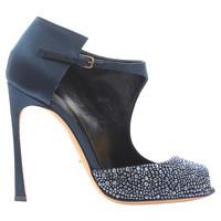 Sergio Rossi Crystal Embellished Satin Sandals
