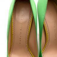 Charlotte Olympia Green Neon Satin Heart Platform  Angle6