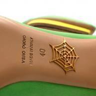 Charlotte Olympia Green Neon Satin Heart Platform  Angle8
