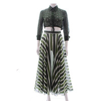 Alaia Skirt Patterned With Cool Tonal Green Stripe Angle4