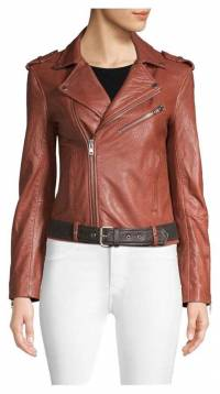 Brick brown Maje leather jacket never worn Angle1