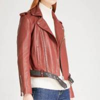 Brick brown Maje leather jacket never worn Angle4