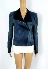 MAJE Navy Blue Bennie Suede Asymmetrical Zip Moto