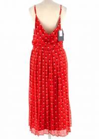 Christopher Kane Red Silk  Midi Dress Angle3