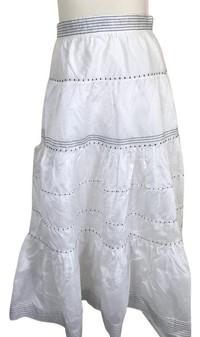 Ulla Johnson White Tiered Silk Blend Skirt