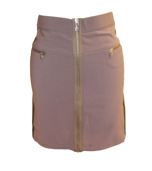 Brown Exposed Zipper stretch skirt