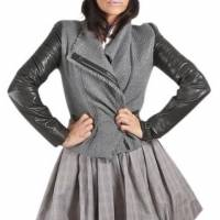 Gray Wool Leather Jacket by Vince Angle1