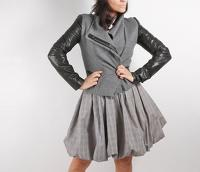 Gray Wool Leather Jacket by Vince Angle2