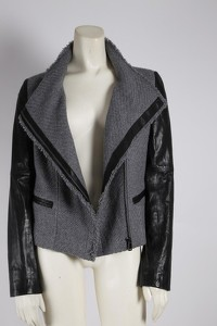 Gray Wool Leather Jacket by Vince Angle3