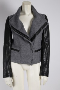 Gray Wool Leather Jacket by Vince Angle4