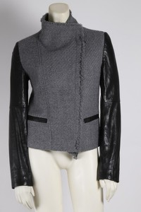 Gray Wool Leather Jacket by Vince Angle5