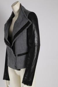 Gray Wool Leather Jacket by Vince Angle6