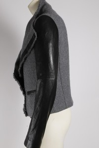 Gray Wool Leather Jacket by Vince Angle7