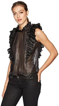 Plaid Pleated Black/Silver Top by Rebecca Taylor