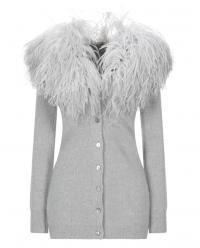 Blumarine Grey Ostrich Feather Trim Wool Cardigan