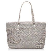 Chanel Grey Tweed Cloth Tote Bag Angle1